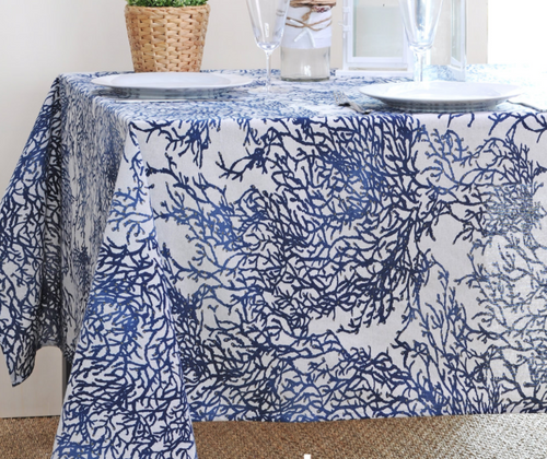 """Coated Coral Blue tablecloth 60"""" x 98"""""""