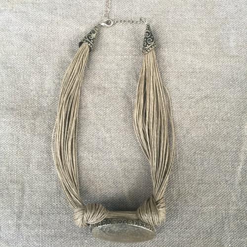 Linen Thread Handmade Oval necklace