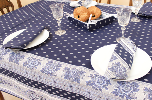 Bastide Navy Blue  Coated Tablecloth