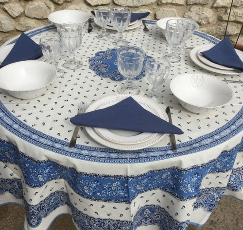 Tradition White and Blue Coated Tablecloth