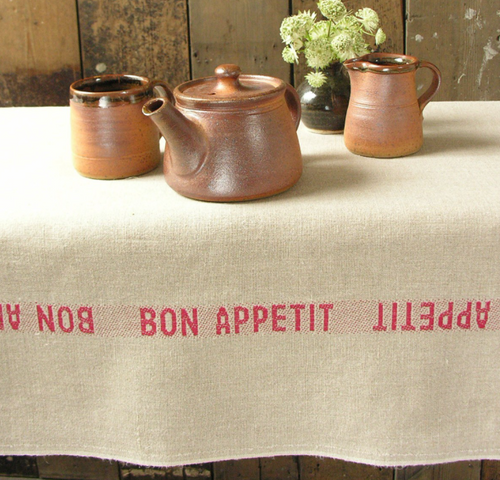 Bon Appetit Red - Linen Tablecloth