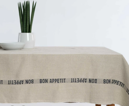 Bon Appetit Black - Linen Tablecloth