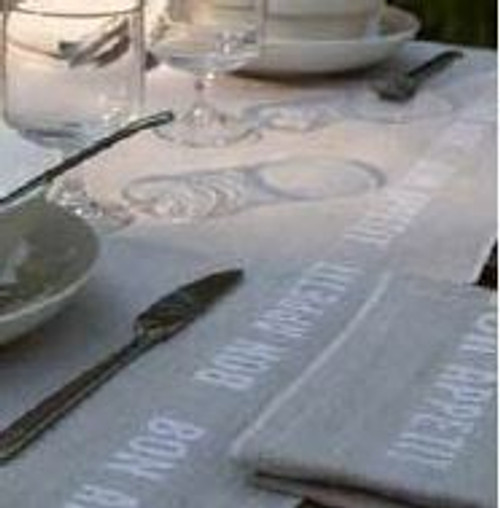 Bon Appetit White - Linen Tablecloth