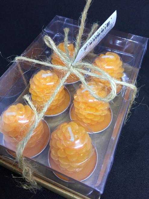 Orange Pine Cone Votives