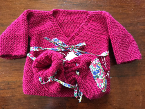 Classic newborn Sweater with matching booties in red