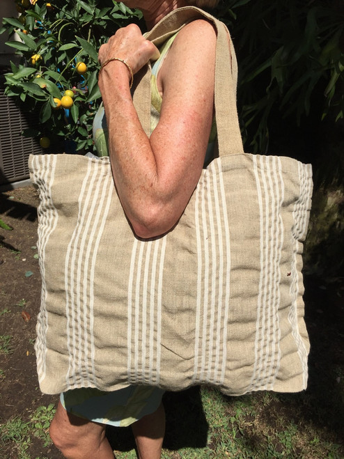 Bag in Natura Linen, striped white and natural