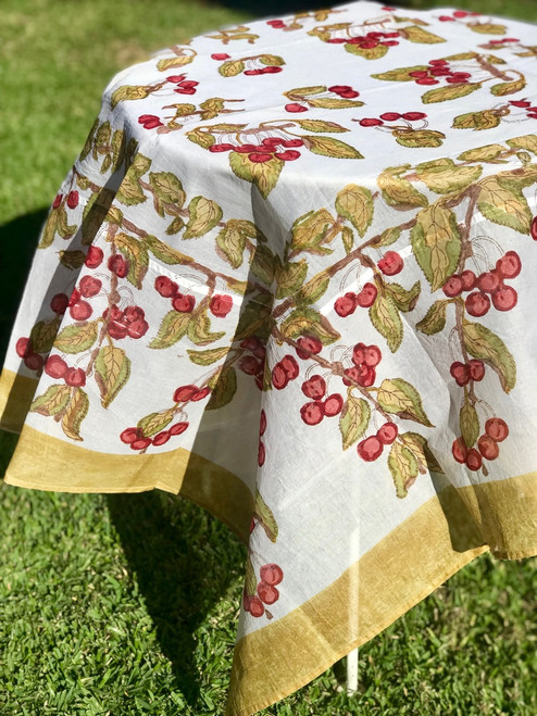 Cotton Organza Cherry Tablecloth