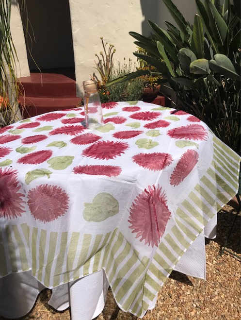 "Pair our organza with our 110"" round white, green or red Provence tablecloth"