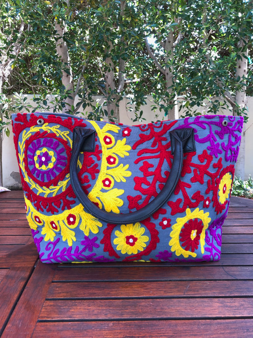 Embroidered Handbag Grey, Red, Yellow and Purple