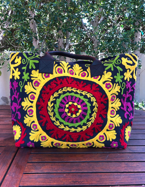 Embroidered Handbag Black, Yellow and Red
