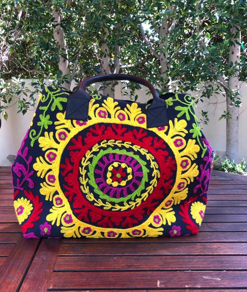 Embroidered Handbag Black, Yellow and Red