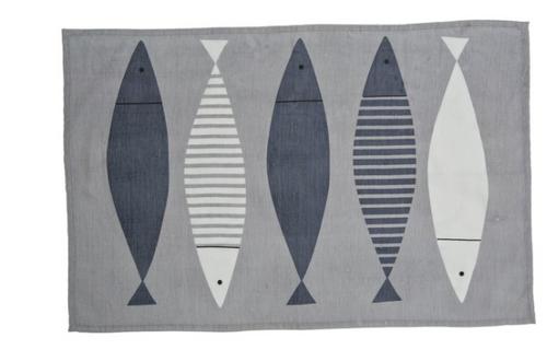 Fish Linen Grey Kitchen Towel