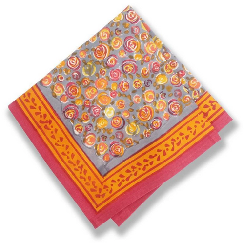 Autumn Bouquet Orange Gray Napkins, Set of 6