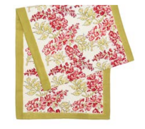 Wisteria Green Pink Table Runner