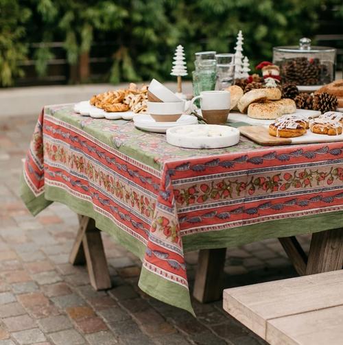 Acorns and Foliage Green Tablecloth