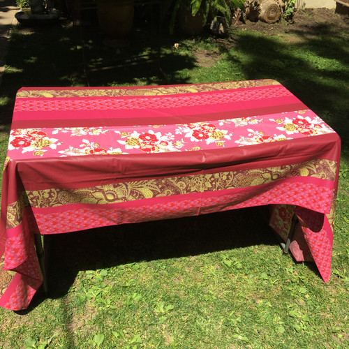 """Coated Tablecloth Rose Burgundy Yellow Floral Stripe 60 x 98"""""""