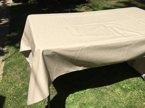 """Coated Beige Gold Shimmer Tablecloth, 60 x 98"""""""
