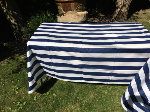 Coated Blue Stripe Tablecloth