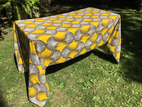 Coated Yellow Grey Beige Leaf Tablecloth