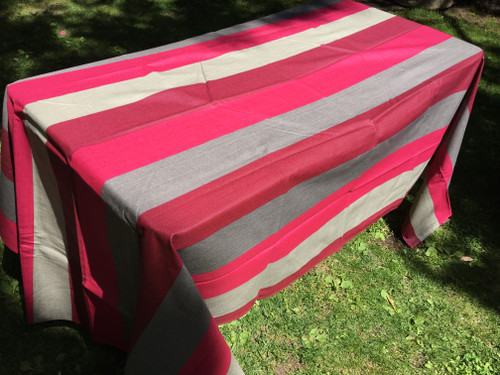 Coated Stripes Beige Burgundy Magenta Tablecloth