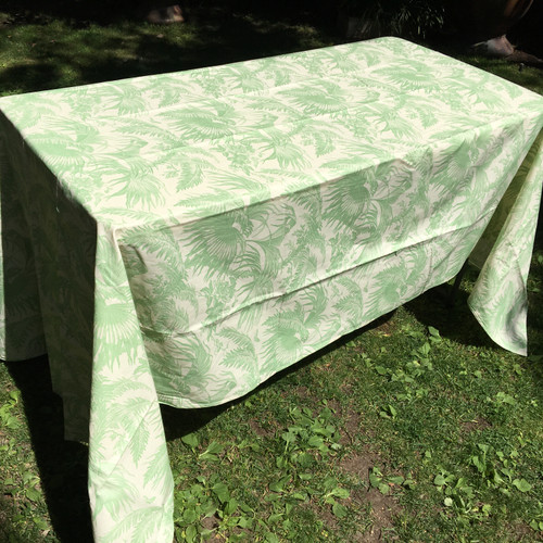 Coated Toile Print Sage Tablecloth