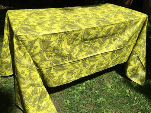 Coated Toile Print Chartreuse Gray Tablecloth