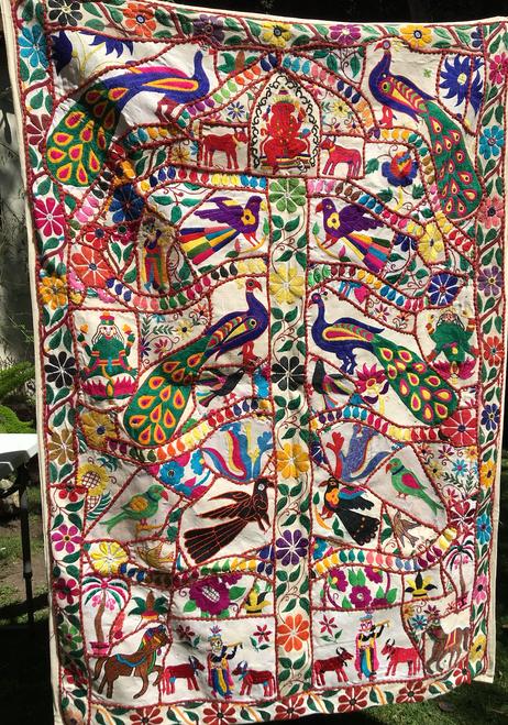 "Indian Tree of Life, ""Ganesh peacock"" 40 x 60"""