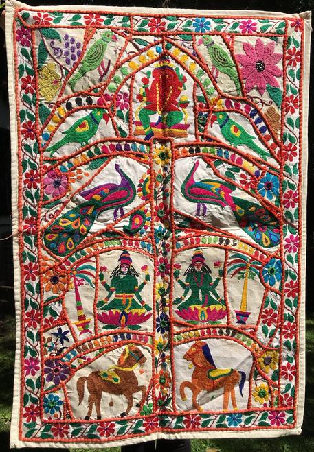 "Indian Tree of Life ""Horses & Parrots"" 26 x 38"""
