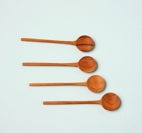 Wooden Spoons, Set of 4 Flat Round