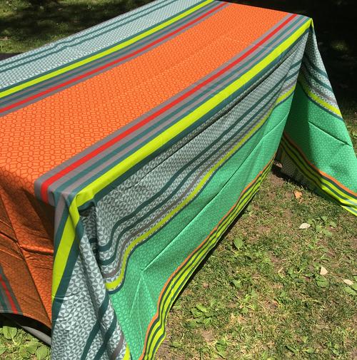 Coated Stripes Orange Turquoise Grey Tablecloth