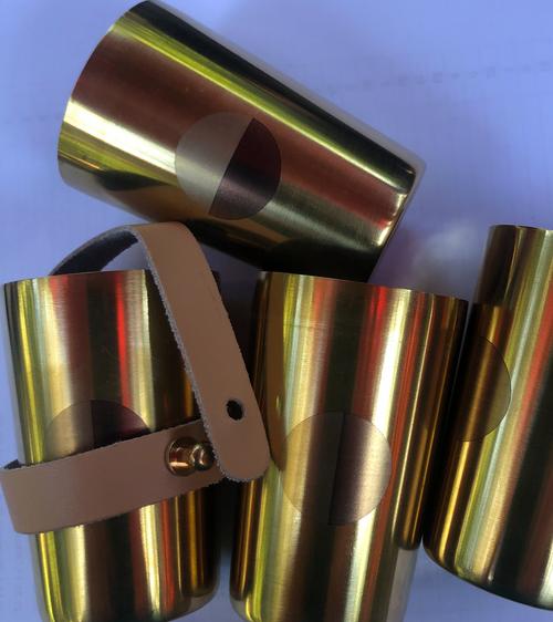 Set of 4 shot glasses, Brass, Natural Leather Strap