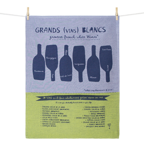 Grands Blancs Greatest French White Wines Dishtowel
