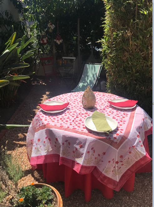 "Pair our organza with 110"" round red Provence tablecloth"