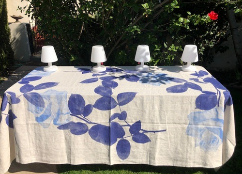 Blue Rose Tablecloth