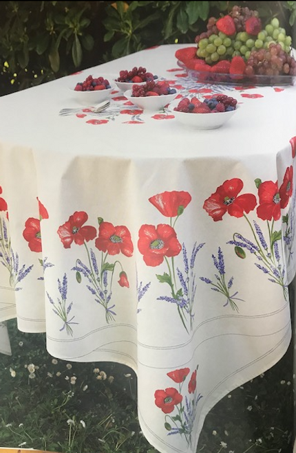 "Rectangular 98"" Tablecloth with an oval print"