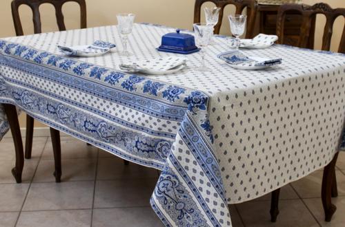 Bastide White/Blue Coated Tablecloth