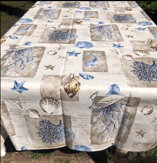 Coated Sea Themed Tablecloth