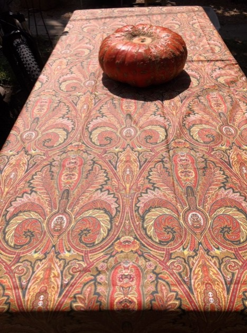 Paisley Orange Coated Tablecloth