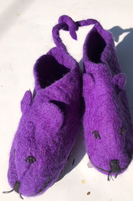 Felt Slippers - Purple Mouse