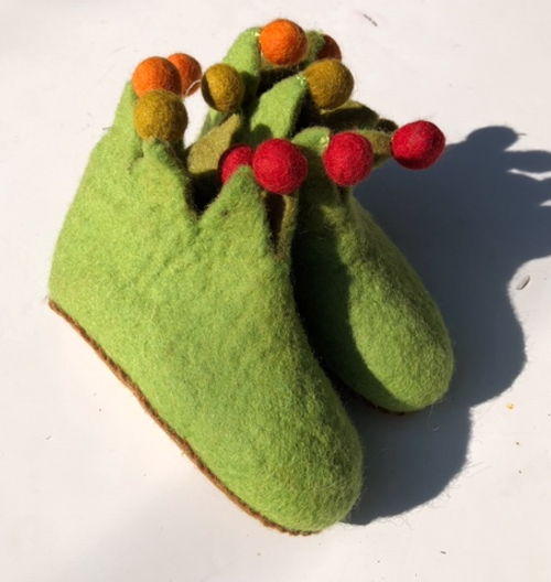 Felt Slippers - Green
