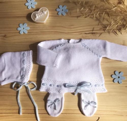 Knit Cotton Newborn White Sweater and Pants