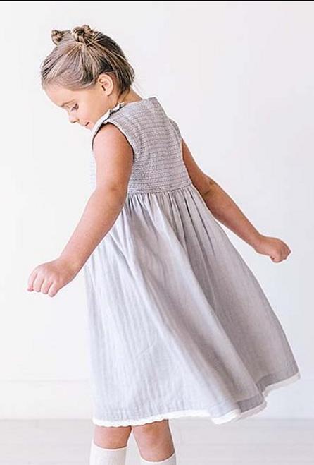 Grey Button Shoulder Smocked Babydoll Dress