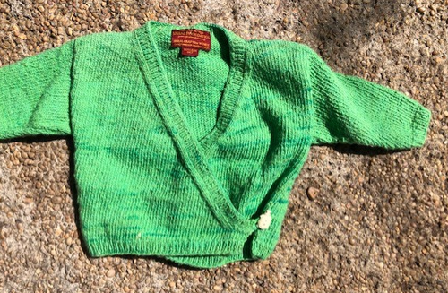 Green Baby Sweater - Handknit