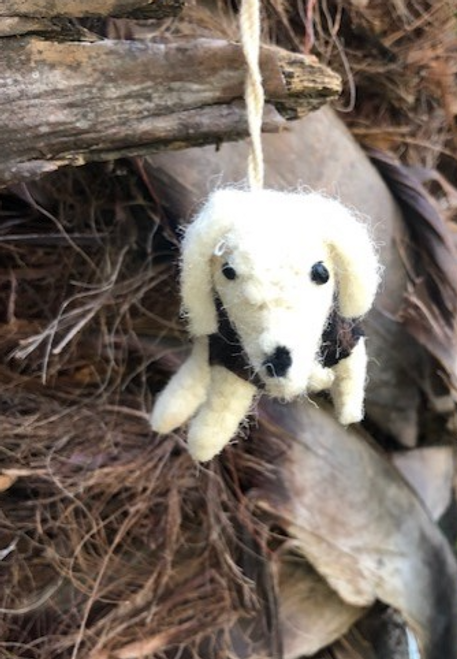 Boiled Wool Ornament - White Dog