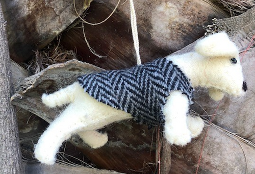 Boiled Wool Ornament - Dog Wearing Tweed