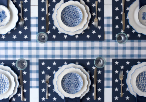 Paper Placemats, Star on Navy