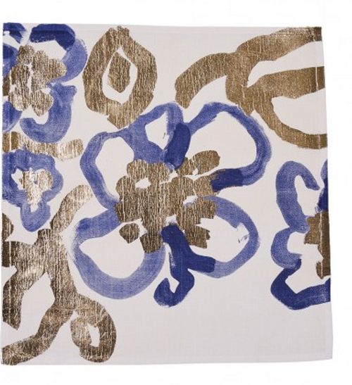 Napkins, Floral Blue Gold