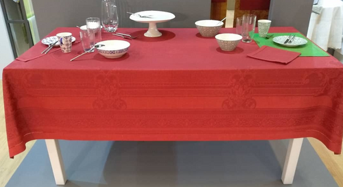 "Linen Tablecloth, Red, Reversible 70"" x 122"""