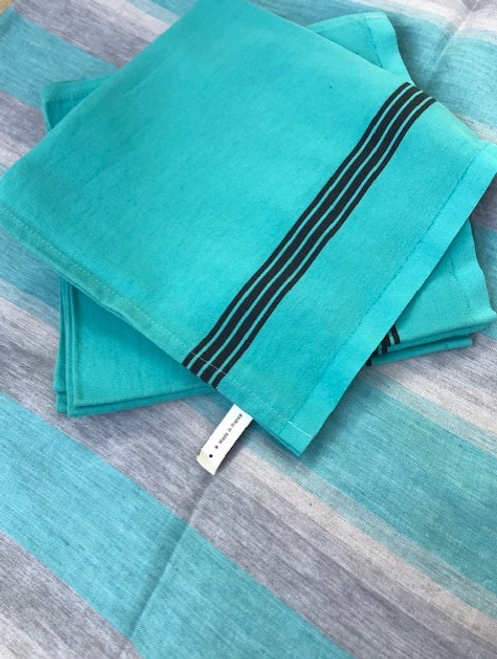 """Striped Linen - Turquoise 68"""" x 120"""""""