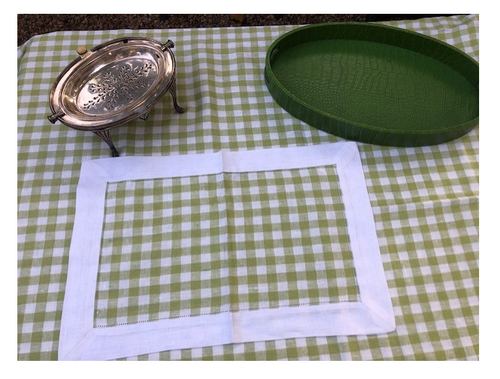 "Checkered Green Tablecloth 67"" x 118"""